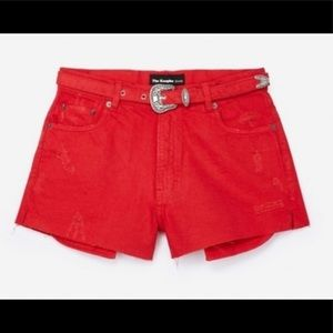 THE KOOPLES JEANS - red distressed shorts